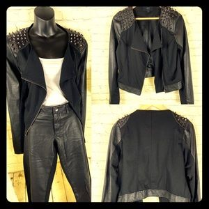 2/$40 Lg Faux leather jacket with spiked shoulders